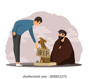 Man helping poor homeless person with dog. Poverty and charity vector illustration. Guy giving money to beggar in poverty. Social inequality in society. Person donating to jobless man in need.