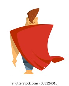 Man or hero with super red cloak cape. Back view. Isolated on white background