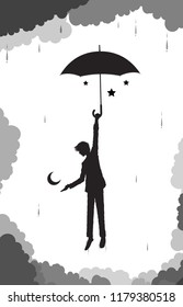 man hides the moon and stars under his umbrella from the cluds and rain, young wizard, scene on heavens, black and white dreams, vector