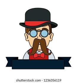 man hipster with mustache and tophat