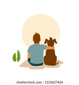 man and his best friend dog cuddle hug, backside view cute cartoon vector illustration scene
