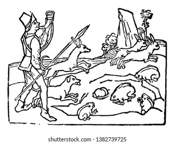 A man with his companion dogs is hunting the animals, vintage line drawing or engraving illustration.
