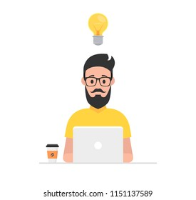 Man at his desk is working on the laptop computer and drinking coffee. Freelance job concept. Vector illustration.