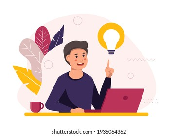 The man at his desk works on a laptop and drinks coffee. Freelance work concept. The emergence of a new idea