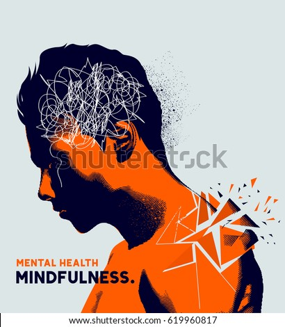 A man with his head lowered shattering showing mental health issues. Anxiety, depression and mindfulness awareness concept.
