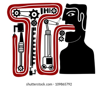 man with his tongue inside a mechanism