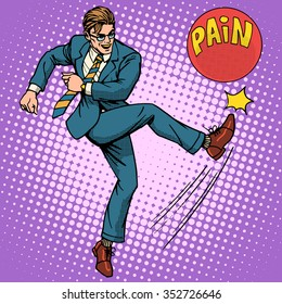 Man hits ball with name pain pop art retro style. Medical and mental health. Medicines and treatment. Pharmacy and pills