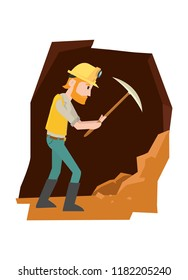 A man hitting a rock in the cave to looking for a gold