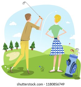 Man hitting a tee shot, woman watching ball in the air (vector illustration)