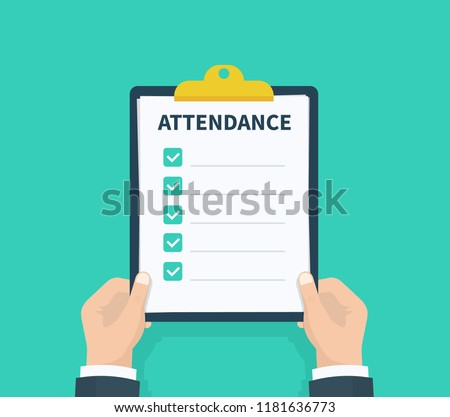 man hold attendance clipboard checklist questionnaire stock vector