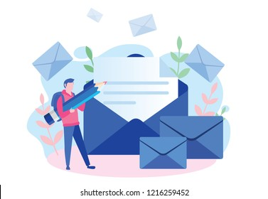 Man hold pencil. chatting, Businessman vector illustration. Working process, New email message, mail notification. Social network, chat, man reading letter, New incoming message, sms, spam. male.