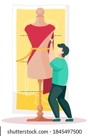 Man hold a red cloth and put it on a mannequin to create a dress. Seamstress is working on a model of a new fashionable dress. Big mannequin and tiny dressmaker. Custom tailoring. Guy measures a waist