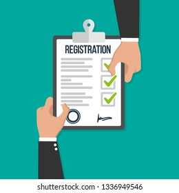 Man hold registration clipboard flat icon vector illustration concept image icon