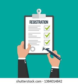 Man hold registration clipboard flat icon vector illustration