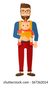 Man holding baby in sling.