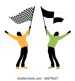 man holding a black and white checkered flag, vector illustration