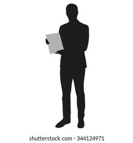 Man holding blank board, banner. Presentation, vector silhouette
