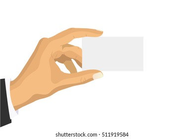 Man holding a blank card in his hand mockup. Credit card, ID card. It can be used as a template for a credit card, identity card, place for text. Flat style vector.