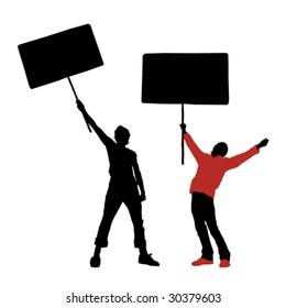 man holding a blank sign, vector illustration