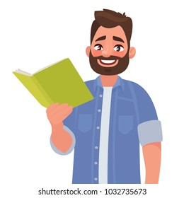 Man is holding a book in his hand. Vector illustration in cartoon style