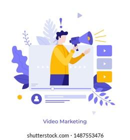 Man holding bullhorn or megaphone in multimedia player window. Concept of social video marketing, online advertisement, internet promotion, digital ad or promo. Modern flat vector illustration.