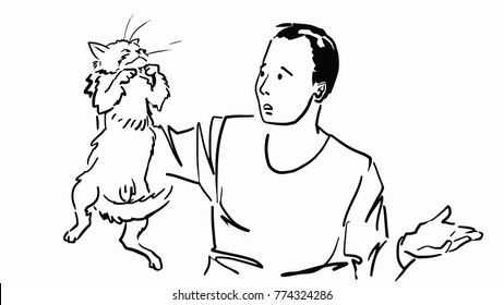 The man holding a cat by the scruff. Black and white vector sketch. Simple drawing.