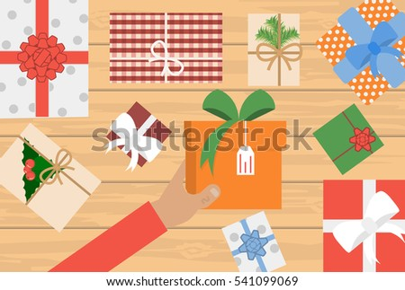6a137524cf Man Holding Christmas Presents Laid On Stock Vector (Royalty Free ...