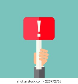 Man holding exclamation mark. Attention sign icon. Hazard warning symbol, vector illustration