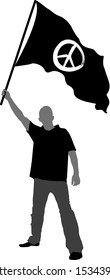 man holding a flag with peace symbol