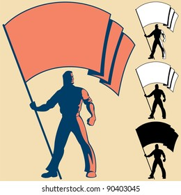 Man holding flag. You can place the colors of your own flag or put your logo, text or symbol in the blank space. 3 types of silhouettes are also included.