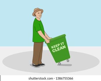 a man holding a garbage bin