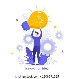 Man holding giant glowing electric light bulb. Concept of innovative idea, innovation, breakthrough technology, modern thinking. Vector illustration in flat style for banner, poster, advertisement.