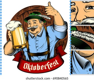 Man holding glass of beer in traditional german bavarian clothes Trachtenhut, Lederhosen on beer festival Oktoberfest. The thumbs-up gesture. Vector ink hand drawing vintage character for color print.