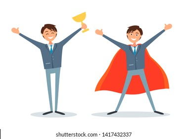 Man holding gold prize cup and business super businessman boss vector. Superhuman wearing red cloak as hero, director chief executive of company with award