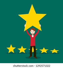 Man Holding Gold Star above Had. Vector Flat Design Rating Symbol.