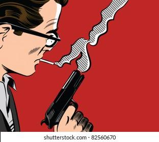Man Holding Gun Smoking A Cigarette