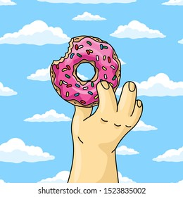 man holding half-eaten cartoon donut with pink glaze against blue sky wish clouds. close up vector illustration