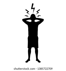 Man holding hand near head with lightning thunderbolt Concept trouble problem people silhouette icon black color vector illustration flat style simple image