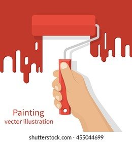 Man holding in hand roller, isolated on background painted red wall. Painting service. Artist paints. Flat style design vector illustration. Renovation concept.