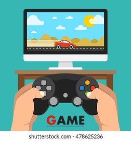 Man holding in hands gamepad and playing videogame. Vector flat illustration.