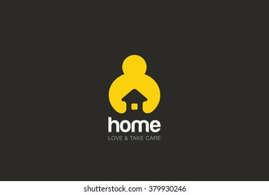 Man holding hands House Logo design vector template negative space style. Repair household service Logotype icon. Love home security concept.