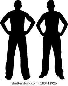 man holding hands on his hips - back and front