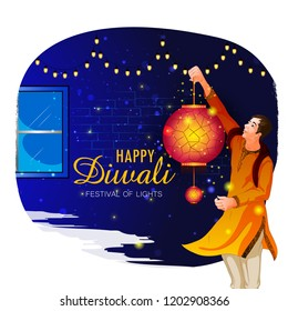 Man holding hanging kandil lantern lamp for Happy Diwali night celebrating holiday of India. Vector illustration