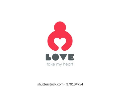 Man holding Heart Logo design vector template Negative space style. Donation idea. Valentines day concept. Cardio medical Health Logotype. Take my Love icon.