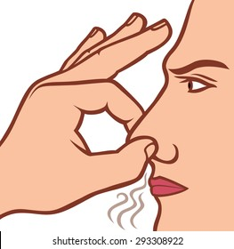 man holding his nose because of a bad smell
