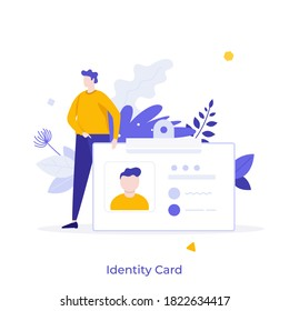 Man holding ID, name tag, badge. Concept of identity card with personal information, national identification document, passport, driver's license. Modern flat colorful vector illustration for banner.
