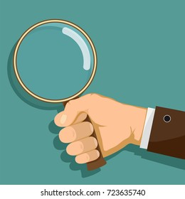 Man is holding a magnifying glass in his hand. Flat graphics. Search for evidence by detective. Stock vector illustration.