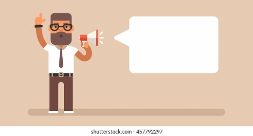 A man holding megaphone in one hand and raising another one. Attract attention concept. Colored flat vector illustration with a cloud for comments