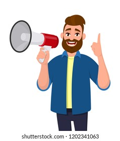 Man holding a megaphone/loudspeaker, shouting, announcing something and pointing up index finger. Man standing isolated in white background. Megaphone concept illustration in vector cartoon style.