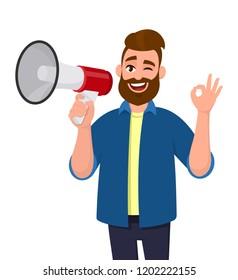 Man holding a megaphone/loudspeaker, winking eye and showing/gesturing OK/okay sign. Megaphone concept illustration in vector cartoon style.